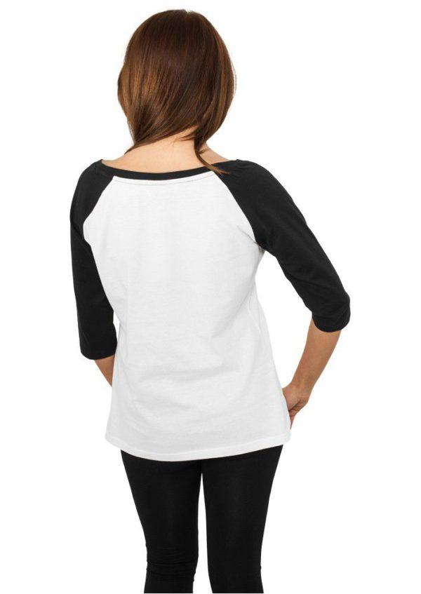 Urban Classics Ladies 3-4 Contrast Raglan Tee Wht Blk – bielo-čierna