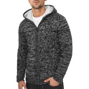 Urban Classics Winter Knit Zip Hoody Char – tmavošedá