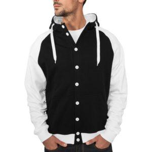 Urban Classics Light Fleece Button Hoody Black White – čierno-biela