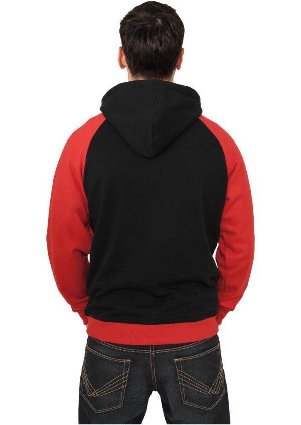 Urban Classics Light Fleece Button Hoody Black Red – čierno-červená