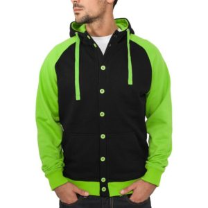 21531 300x300 - Urban Classics Light Fleece Button Hoody Black Limegreen - čierno-limetková