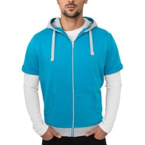 Urban Classics Light Fleece Shortsleeve Zip Hoody Turquoise – tyrkysová
