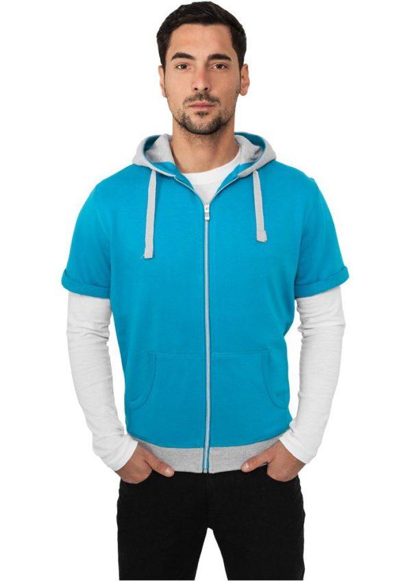 Urban Classics Light Fleece Shortsleeve Zip Hoody Turquoise – tyrkysová