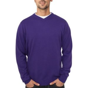Urban Classics Knitted V-Neck Purple - fialová
