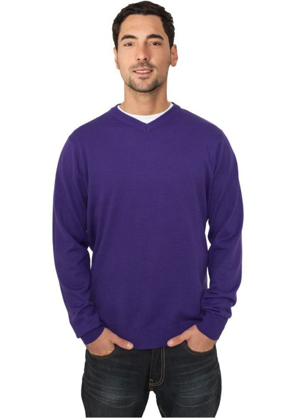 Urban Classics Knitted V-Neck Purple – fialová