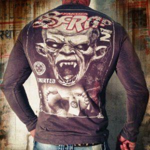 Yakuza tričko pánske s dlhým rukávom LSB 520 rabbit moon  - šedá