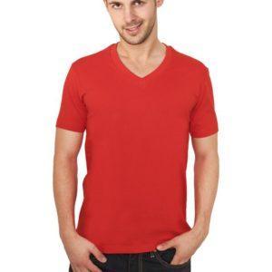 Urban Classics Basic V-Neck Tee Red – červená