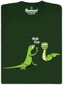 Bastard High Five zelené pánske tričko – nový strih