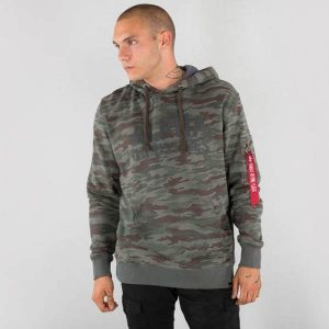 Alpha Industries Camo Print Hoody Army Green - L