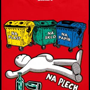 Bastard Tříděný odpad červené pánske tričko – nový strih