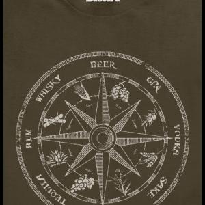 Alkoholický kompas khaki pánske tričko